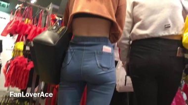 Fit Teen Bum in Clothes shop