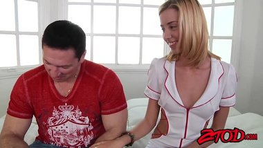 Beautiful nurse Haley Reed decides to taste patients dick