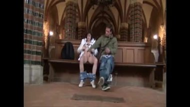 Couple sex play in a church
