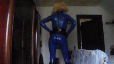 blue latex catsuit