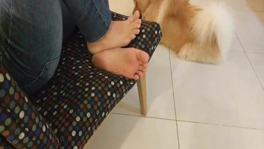 Candid feet very hot foot and soles (dog licking) pies