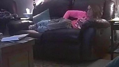 sexy wife caught grinding pussy on couch hidden cam