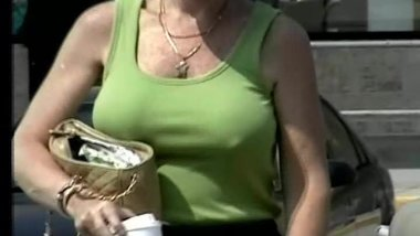 candid - mature with big tits & hard nipples
