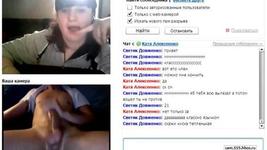 Russian girl in the chat opened her mouth