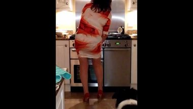 wife in short dress