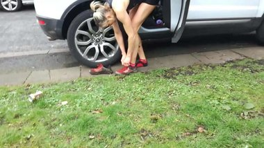 Bare Feet MILF Athlete Slide Knickers Off in Range Rover Mud