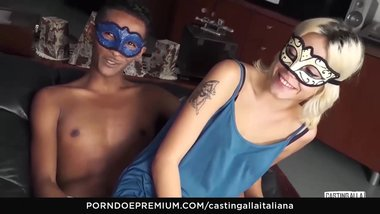 CASTING ALLA ITALIANA - Interracial BJ and pussy licking