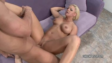 Busty blonde Cali Cassidey is banging a dude she just met