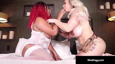 Nympho Nina Kayy In Double Ended Dildo With Ebony Thick Red!