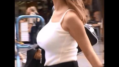 Candid Boobs: Slim Busty Hispanic Women (White Tops) 5