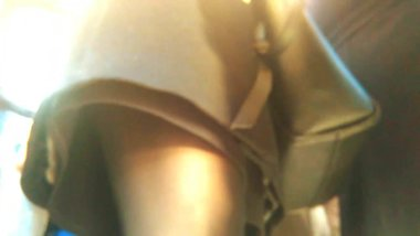 Upskirt in crowded bus