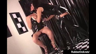RubberDoll Pleasures GF With Spiky Black & White Vibrator!