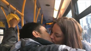 Horny Couple Kissing on the Bus