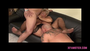 Granny mum Chubby short haired in threesome of young stepson