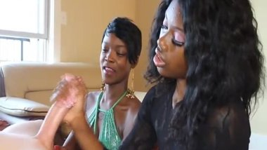 Two nextdoor amateur black girls jerking white guy for money