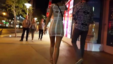 Candid voyeur gorgeous asian girl in tight dress heels