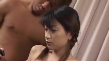Skinny Sayaka Tsutsumi spreads her legs for huge pole to sli