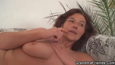 Old granny swallows two cocks