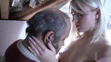 Blond with glasses fucked by old man