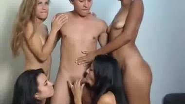 One lucky boy having fun with 4 girls