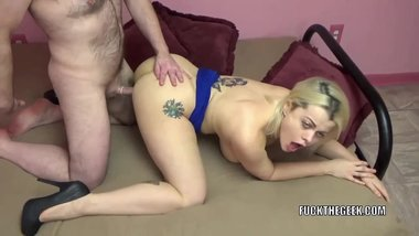 Busty wife Nadia White lets a geek fuck her tight twat