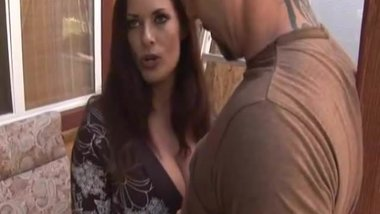 Hugetits MILF stroking cock outdoors