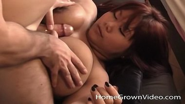 Busty chubby Asian masturbates and fucks