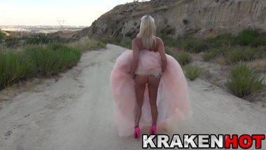 Hot blonde bride in outdoor submision scene